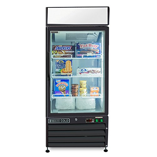 Maxx Cold MXM1-12FB One 1 Glass Door Upright NSF Commercial Glass Door Merchandiser Frost Free Freezer in BLACK - 12cf by MAXX Cold