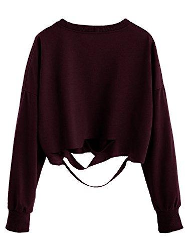 SweatyRocks Women's Long Sleeve Crop T-shirt Distressed Ripped Cut Out Tee Tops (Large, Burgundy) (Distressed Tee Long Sleeve)