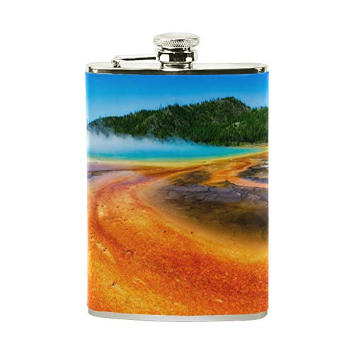 Steel Stainless Flask,Grand Prismatic Spring Geyser Leather Pocket Funnel with Screw Top,Liquor Alcohol Whiskey Classic Hip for Men,8 OZ