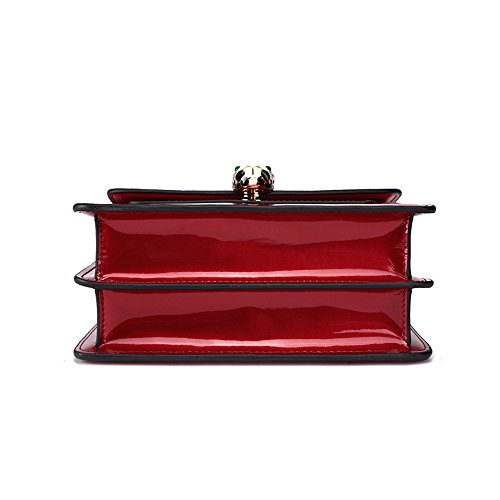 Head Simple Retro Lock Bag Messenger Small Snake Bag Leisure Red Leather Square Shoulder EaqBra