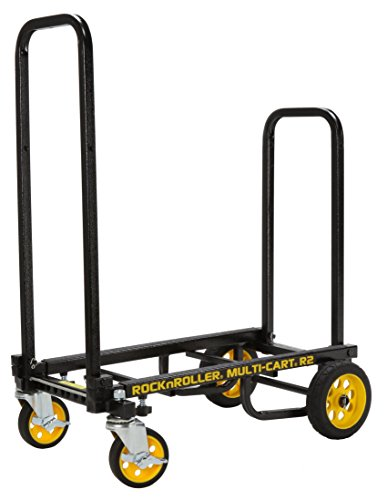 Black Vending Cart - Rock-N-Roller R2RT (Micro) 8-in-1 Folding Multi-Cart/Hand Truck/Dolly/Platform Cart/26