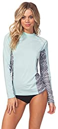 Rip Curl Women\'s Trestles Long-Sleeve UV Rashguard with Printed Side Panels, Teal Heather, Small