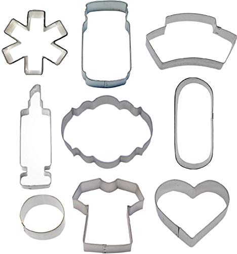9 Piece Nurse Nursing Cookie Cutter Set