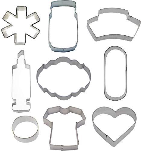 (9 Piece Nurse Nursing Cookie Cutter Set)