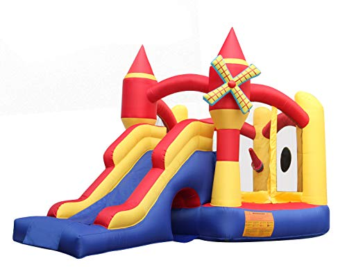 BESTPARTY Inflatable Bounce House Castle Inflatable Jumper Slide Spinning Windmill Bouncy House with Blower