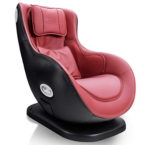 Giantex Leisure Curved Massage Chair Shiatsu Massage with Heating Therapy Video Gaming Chair, with Wireless Bluetooth Speaker and USB Charger for Home Office Use (Red)