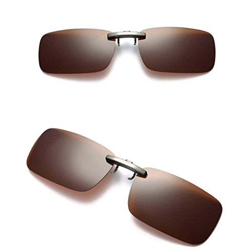 Gafa de Conducción para UV400 Unisex Magideal Miopía Clip Sol con marrón Polarizado pdRq4