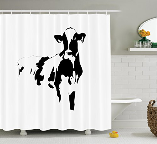 (Ambesonne Farmhouse Decor Collection, Silhouette Portrait of a Big Cow Meat Milk Farm Animals Agriculture Themed Image, Polyester Fabric Bathroom Shower Curtain, 75 Inches Long, Black and White)