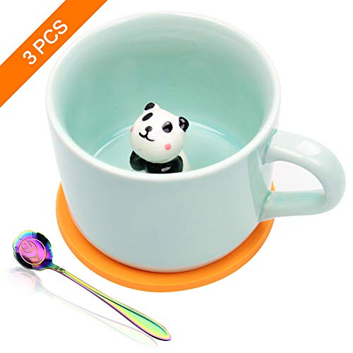 Taocci Cute 3D Panda Inside Coffee Mug Tea cup Funny Handmade White Ceramic Coffee Cup for Friends Roommate Family or Kids Animal Coffee Cup as Surprise Gift Idea Birthday Gift (Coffee Animal Cups)