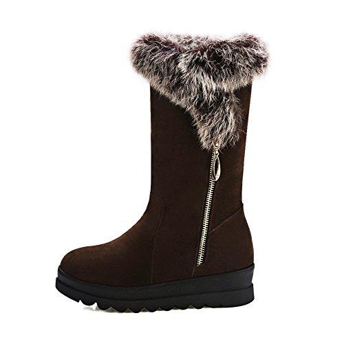 Allhqfashion Women's Solid Imitated Suede Kitten-Heels Zipper Round Closed Toe Boots Brown JeFlp