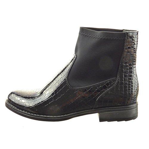 Sopily - Chaussure Mode Bottine Cavalier Souple Montante femmes Peau de serpent verni Talon bloc 2.5 CM - Intérieur fourrure synthétique - fourrée - Noir