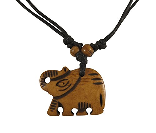 Fair Trade Elephant (Zen Canyon Natural Brown Elephant Hand Carved Yak Bone Pendant Charm Necklace - Eco-friendly Fair Trade (Elephant))