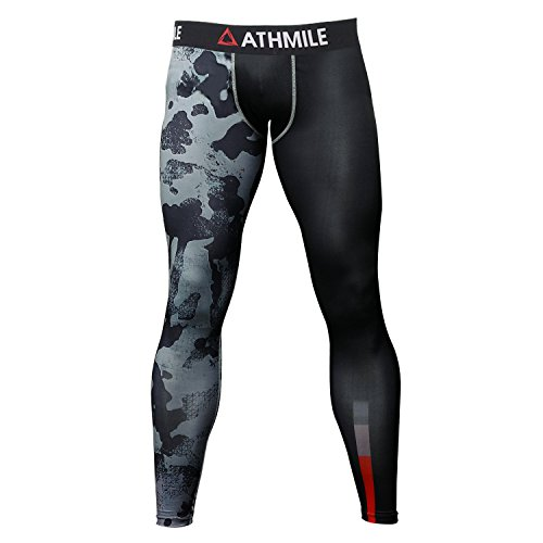Tights Compression Mens (Athmile Men's Sports Compression Cool Dry Pants Workout Tights Running Base layer Leggings for Hiking,Marathon,Basketball,Exercise and Fitness)