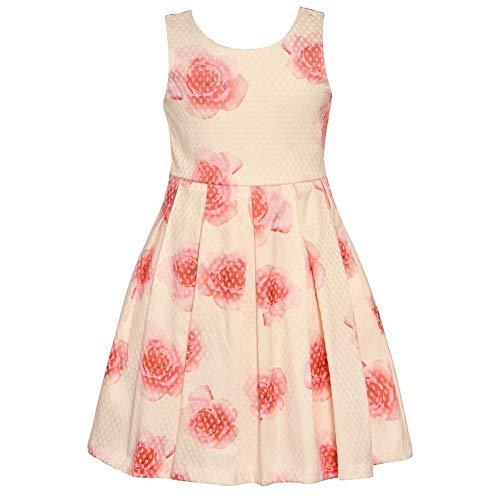 Bonnie Jean Big Girls Ivory Rose Print Bow Knee-Length Easter Dress -