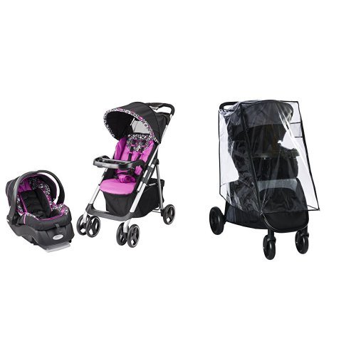 Evenflo Vive Travel System with Embrace, Daphne with Stroller Weather Shield & Rain Cover