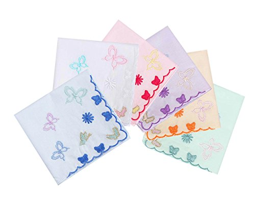 Butterfly Handkerchief - Lovely Butterfly Women's/Ladies Large Cotton Handkerchiefs Embroidery 17