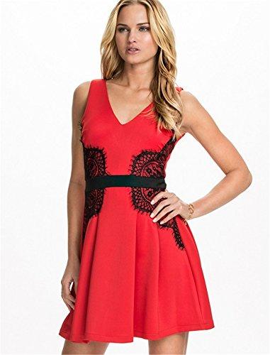 ohyeah Femme Robe sans manches en dentelle Plus Taille Robe Patineuse Rouge