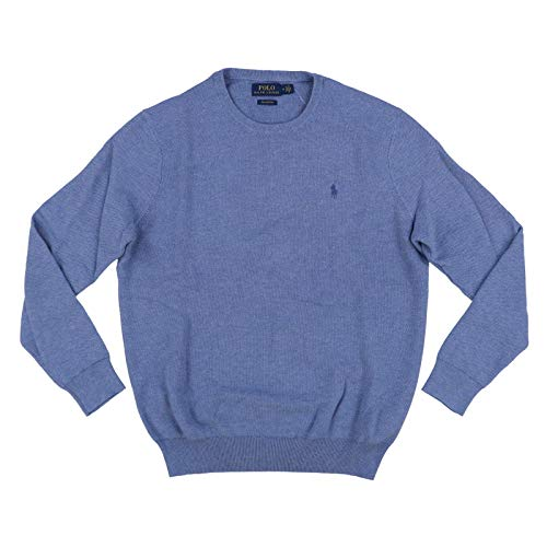 (Polo Ralph Lauren Mens Pima Cotton Crew Neck Sweater (XX-Large, Light Blue Heather))