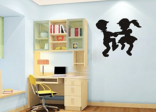 Dailinming PVC Wall Stickers Children dancing silhouettes glass doors dormitory bedroom home decor tastelessWallpaper58.4cm x66cm-Brown - Glass Door Letter Board