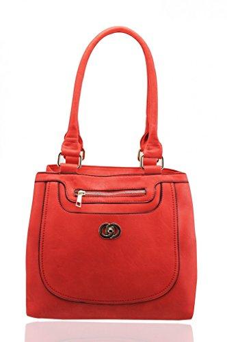 Grab Girls Faux Leather Scarlet Size Bag Work Medium For Leahward Women Tote Shoulder Handbags School AOZzTw
