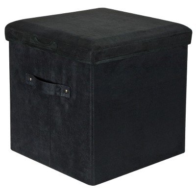 Yu Shan Seat Pad Storage Ottoman Black Black by flora home