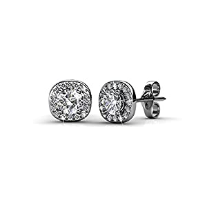 Amazon Black Friday Deals 2018 - Cate & Chloe Ruth 18k White Gold Halo Studs with Swarovski Stones, Best Silver Earrings for Women, Silver Stud Earring Set, Solitaire Earrings with Swarovski Crystals