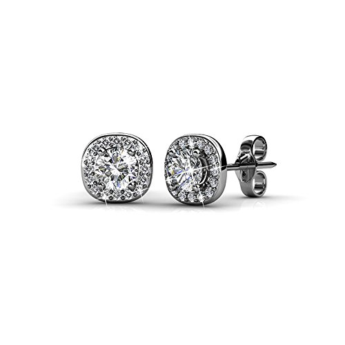 Cate & Chloe Ruth 18k White Gold Plated Halo Studs with Swarovski Stones, Best Silver Earrings for Women, Beautiful Trendy Silver Stud Earring Set, Solitaire Earrings with Swarovski Crystals ()