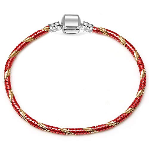 KEIRA HENDERSON Silver Color Snake Chain Bracelet Fit European Charm Bracelet for Women DIY Jewelry Making,R014,20cm (Silver Bracelet For Baby Boy In India)