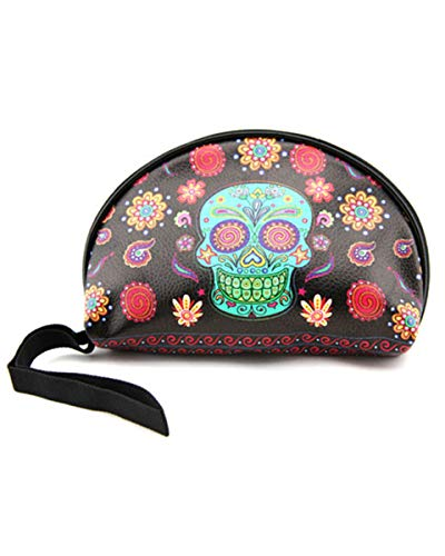 Sugar Skull Makeup Bags Mexican Skull Makeup Cosmetic Bag Day of Dead Accessories]()