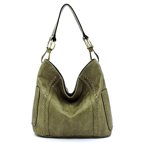 - Vegan faux leather soft and slouchy bucket hobo handbag with detachable cross-body strap (Khaki Green)
