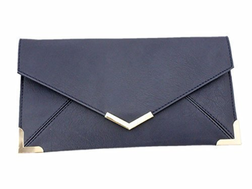 SHOULDER WOMENS BAG Blue HAND FAUX FLAT LEATHER Dark CLUTCH ENVELOPE PURSE 11A6arY
