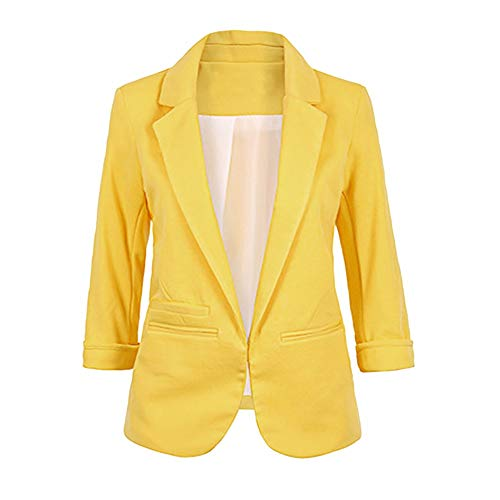 RDTIAN Women's Suit Candy-Color Three Quarter Sleeve Ponte Rolled Blazer Coat