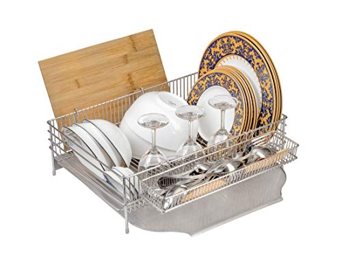 Stainless Steel Dish Drying Rack, Sturdy Drainboard, Large Capacity, Additional Small Rack, Anti-Fingerprint, No Plastic, Utensil & Cutlery Holder, Cutting Board Holder - By 99Racks & ZonWarehouse (Large Dish Rack)