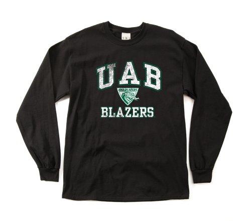 NCAA Alabama Birmingham Blazers 100-Percent Pre-Shrunk Vintage Mascot Long Sleeve Tee, Medium, Black