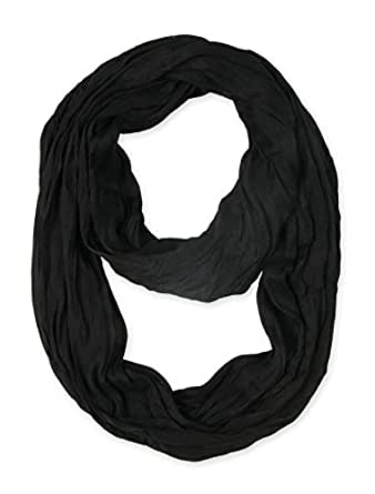 corciova Silk Cotton Solid Color Light Weight Wrinkled Infinity Loop Scarf Black