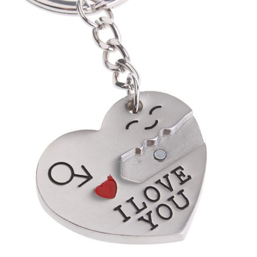 ODETOJOY Pair Keychain Keychain couple for him and her Creative Key Lock Gift Ring for boyfriend and girlfriend silver