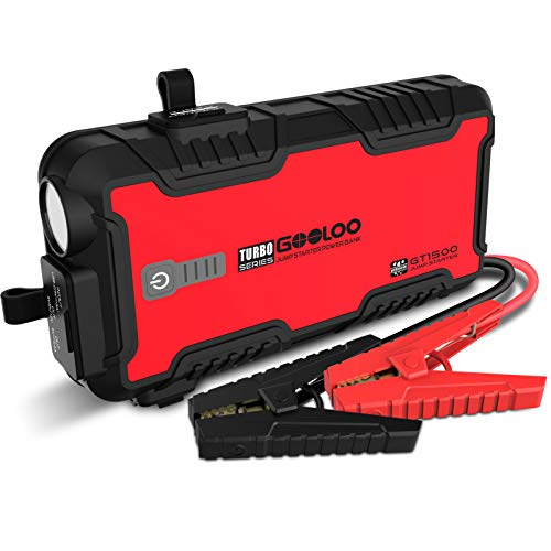 GOOLOO GT1500 Water Resistant Car Jump Starter 1500A Peak SuperSafe 12V Auto Battery Booster for Up to 8L Gas and 6L Diesel Engine with USB Quick Charge, Type-C Port, Portable Power Pack