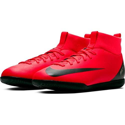Nike Boy's CR7 Jr SuperflyX 6 Club Indoor Cleat Bright Crimson/Black/Chrome Size 1 M US ()