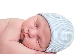 Melondipity\'s Cool Blues Striped Newborn Boy Blue Hospital Hat - Nursery Beanie