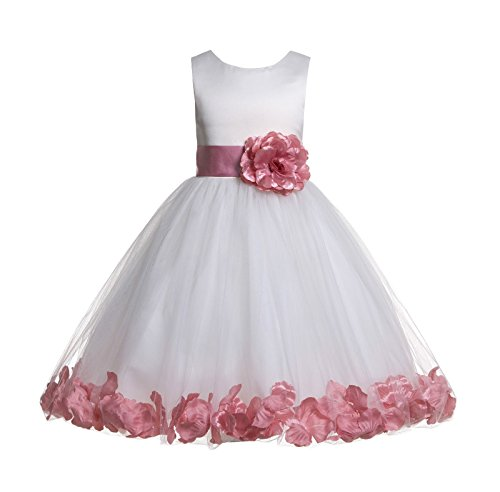 ekidsbridal White Floral Rose Petals Flower Girl Dress Birthday Girl Dress Junior Flower Girl Dresses 302s 4