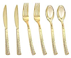 Gold Hammered Plastic & Cutlery Set