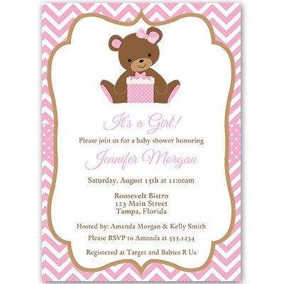 Teddy Bear, Baby Shower Invitations, Sprinkle, Girls, Pink, 10 Custom Printed Invites with White Envelopes,