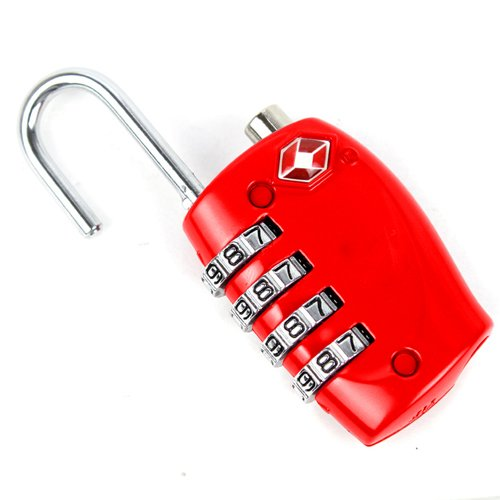 Topro 4 Dial TSA Combination Padlock Resettable Lock Luggage Suitcase Travel (Red)