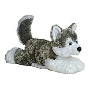 Shadow (Siberian Husky) 12'' Plush Dog by Aurora - Flopsie Series - 41U4RrC6FVL - Aurora World Flopsie Plush Siberian Husky Dog Shadow, 12""