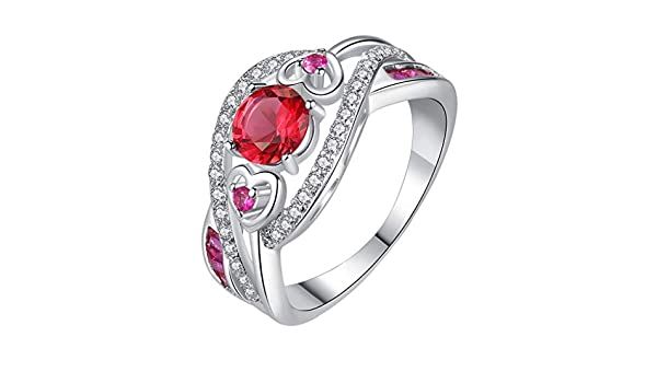 Chic Women White Sapphire Ring Emerald Rose Gold Filled Wedding Jewelry Size 6-9