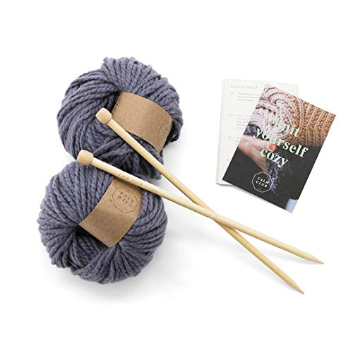 Calm Club Blanket Knitting Kit - Chunky Comfort Blanket Knit Kit - Includes 7 Balls of Chunky Yarn, Bamboo Knitting Needle and Knitting Guide - Mindfulness and Relaxation Gift Set for Women