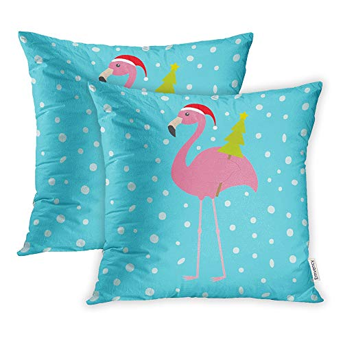 (Emvency Set of 2 Decorative Throw Pillow Case Cushion Cover Pink Flamingo with Wing Holding Christmas Fir Tree Santa Claus Hat Exotic 18x18 Inch Cases Square Pillowcases Covers Two Sides Print)