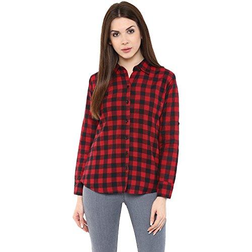 mayra Women #39;s Checkered Regular Fit Shirt  Z1608T09552_Red_Large