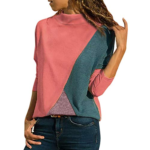 KASAAS Casual Splicing Color Collision Block Blouse for Women Long Sleeves O Neck Easy Tops Blouses(10,Red)