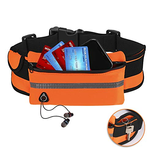 MissFan Water Resistant Running Belt, Fanny Pack, Outdoor Sports Waist Bag, Adjustable Strap Pack Suitable for Both Man and Women